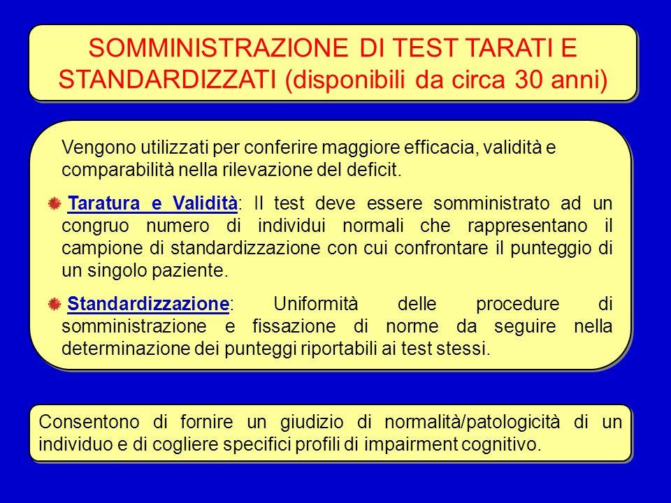 SOMMINISTRAZIONE DI TEST TARATI E STANDARDIZZATI (disponibili da circa 30 anni) Vengono utilizzati per conferire maggiore efficacia, validità e compar