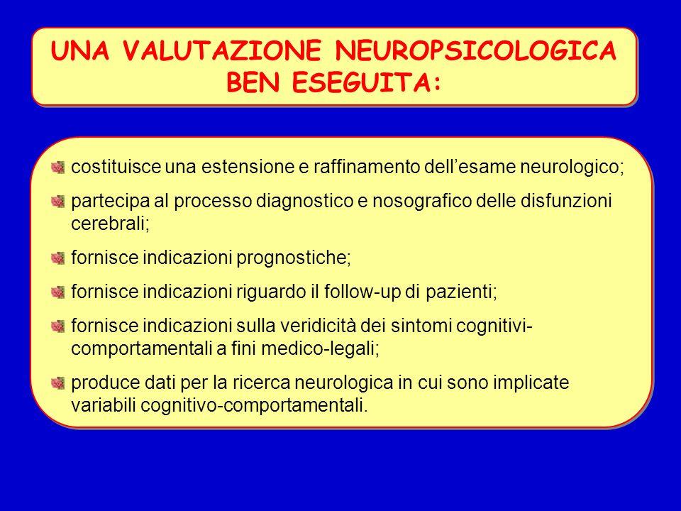 UNA VALUTAZIONE NEUROPSICOLOGICA BEN ESEGUITA: costituisce una estensione e raffinamento dell'esame neurologico; partecipa al processo diagnostico e n