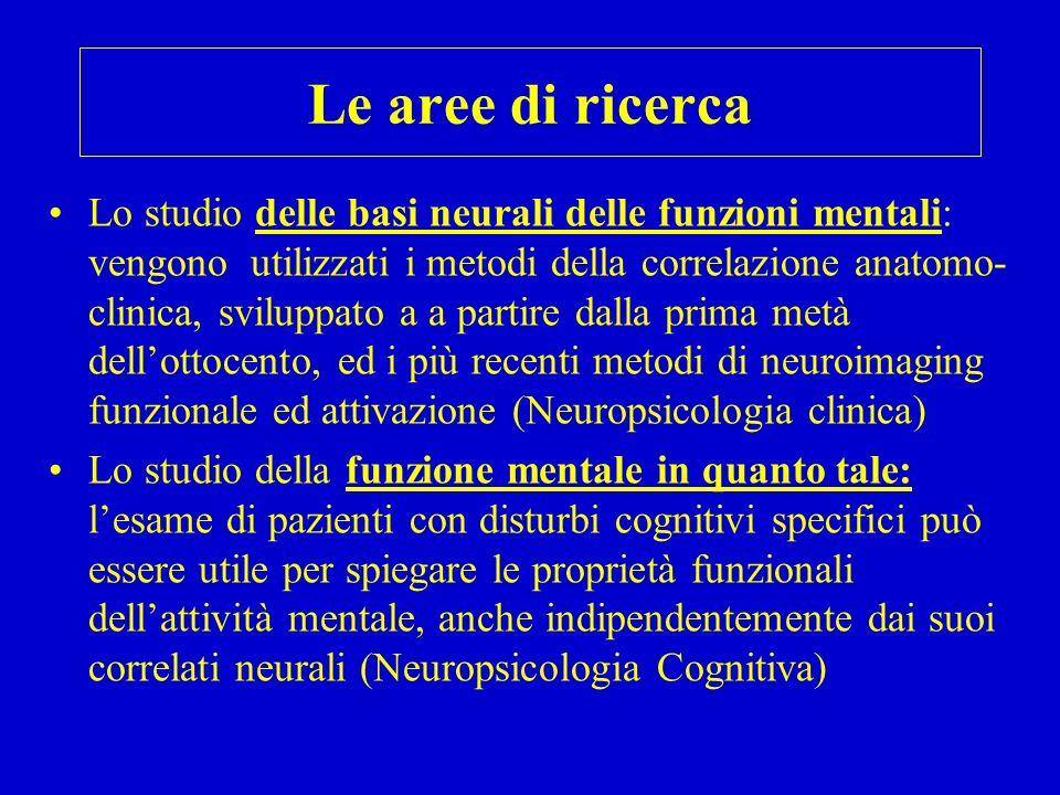 Le aree di ricerca Lo studio delle basi neurali delle funzioni mentali: vengono utilizzati i metodi della correlazione anatomo- clinica, sviluppato a