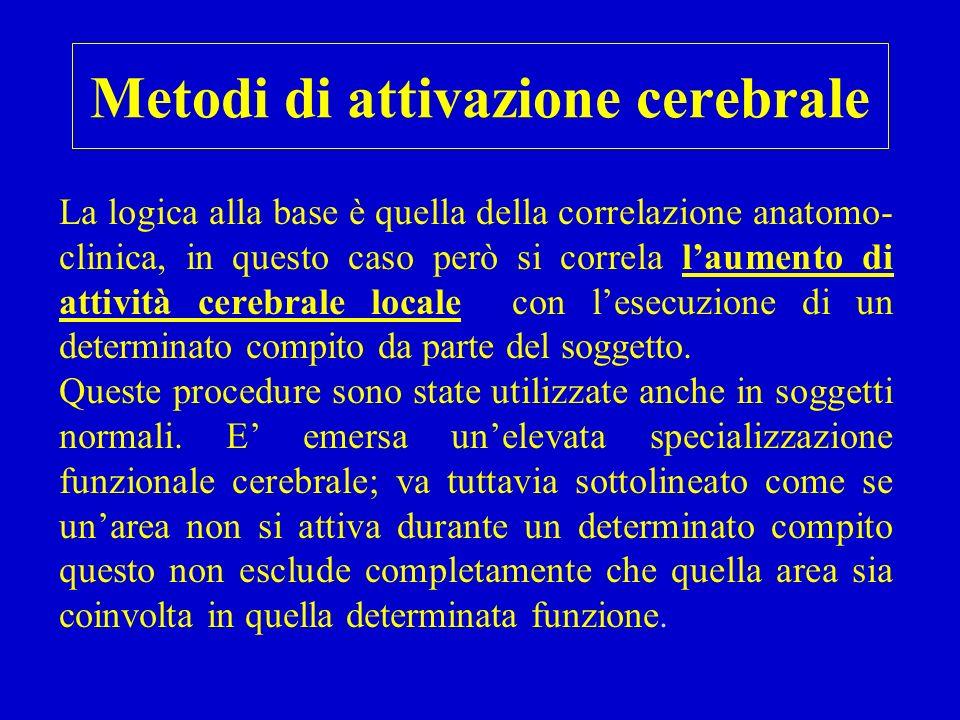 Metodi di attivazione cerebrale La logica alla base è quella della correlazione anatomo- clinica, in questo caso però si correla l'aumento di attività