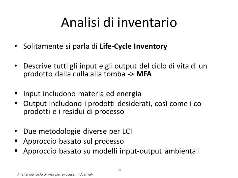 Analisi di inventario Solitamente si parla di Life-Cycle Inventory Descrive tutti gli input e gli output del ciclo di vita di un prodotto dalla culla