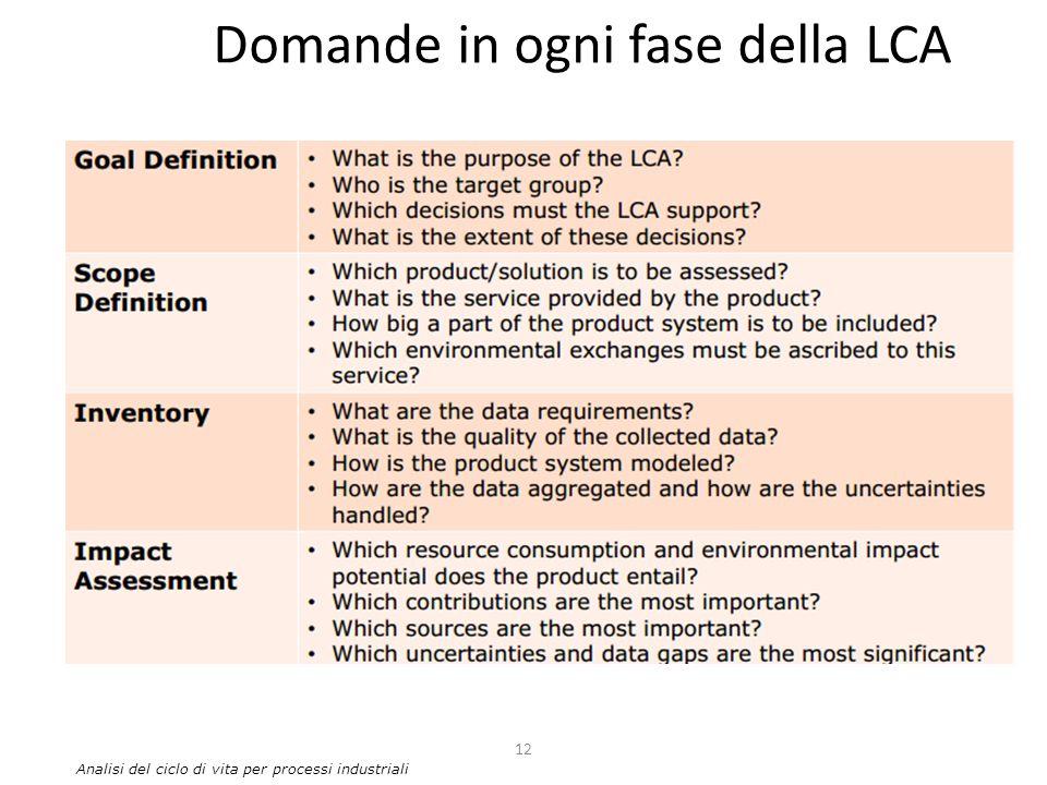 Domande in ogni fase della LCA 12 Analisi del ciclo di vita per processi industriali