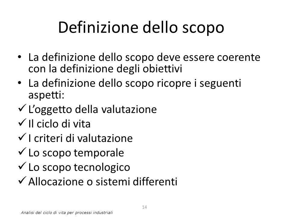 Definizione dello scopo La definizione dello scopo deve essere coerente con la definizione degli obiettivi La definizione dello scopo ricopre i seguen