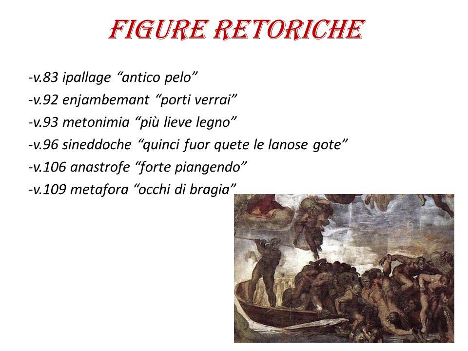 """FIGURE RETORICHE -v.83 ipallage """"antico pelo"""" -v.92 enjambemant """"porti verrai"""" -v.93 metonimia """"più lieve legno"""" -v.96 sineddoche """"quinci fuor quete l"""