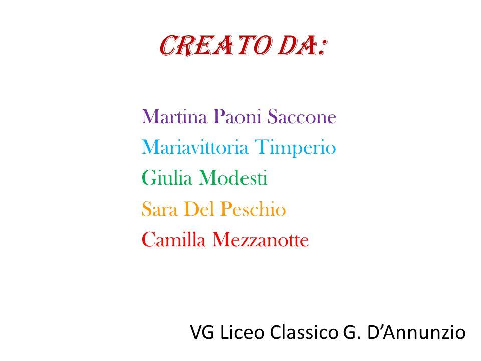 CREATO DA: Martina Paoni Saccone Mariavittoria Timperio Giulia Modesti Sara Del Peschio Camilla Mezzanotte VG Liceo Classico G. D'Annunzio
