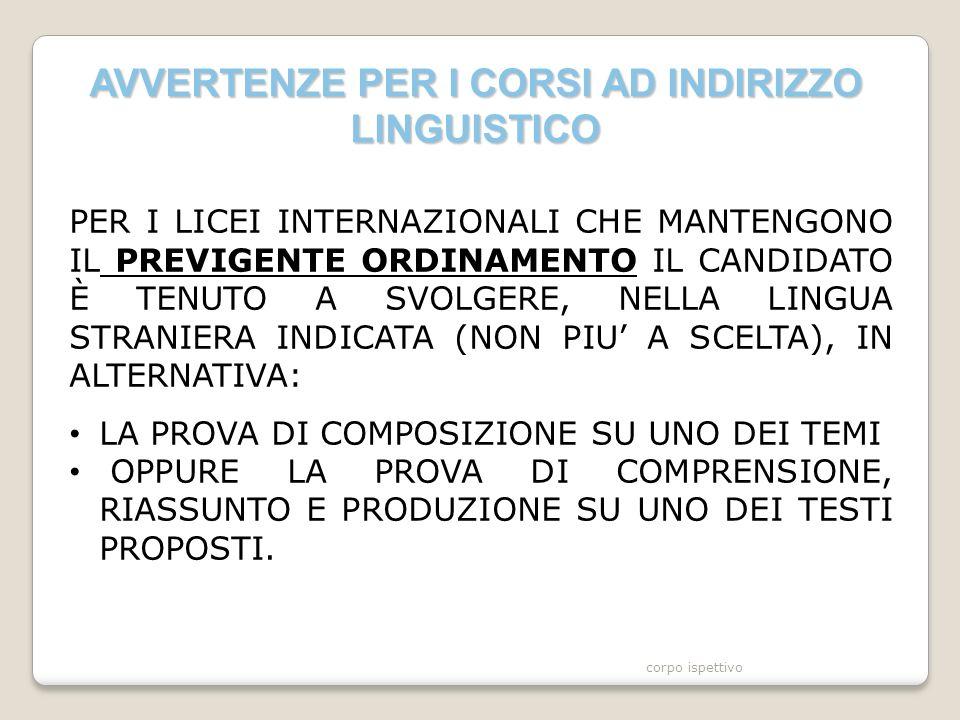 AVVERTENZE PER I CORSI AD INDIRIZZO LINGUISTICO PER I LICEI INTERNAZIONALI CHE MANTENGONO IL PREVIGENTE ORDINAMENTO IL CANDIDATO È TENUTO A SVOLGERE, NELLA LINGUA STRANIERA INDICATA (NON PIU' A SCELTA), IN ALTERNATIVA: LA PROVA DI COMPOSIZIONE SU UNO DEI TEMI OPPURE LA PROVA DI COMPRENSIONE, RIASSUNTO E PRODUZIONE SU UNO DEI TESTI PROPOSTI.