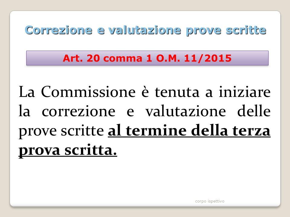 Correzione e valutazione prove scritte La Commissione è tenuta a iniziare la correzione e valutazione delle prove scritte al termine della terza prova scritta.
