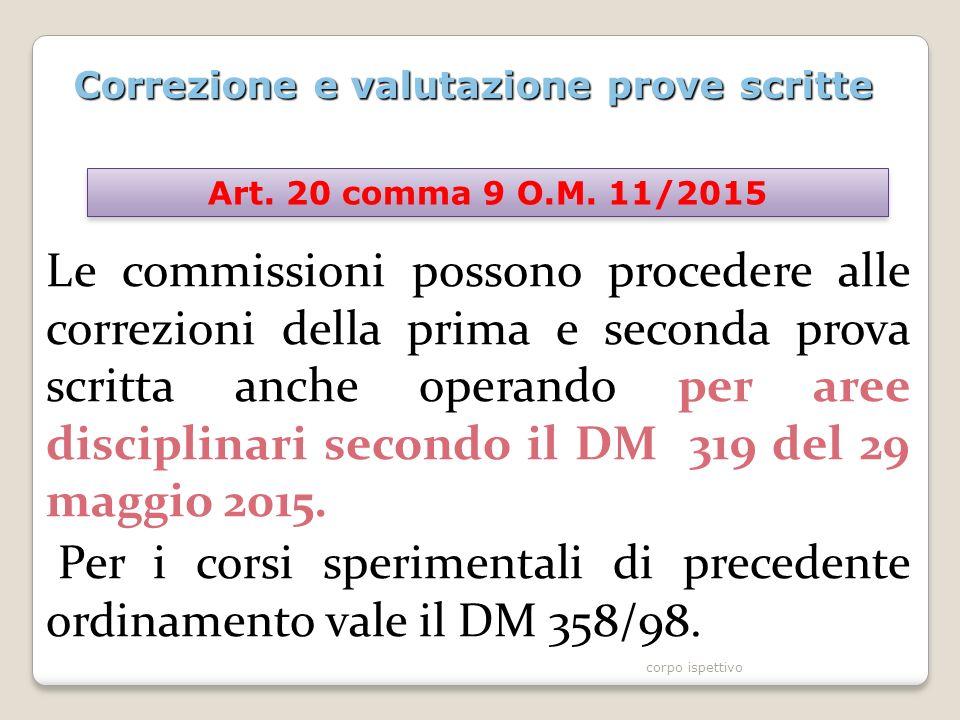 Correzione e valutazione prove scritte Le commissioni possono procedere alle correzioni della prima e seconda prova scritta anche operando per aree disciplinari secondo il DM 319 del 29 maggio 2015.