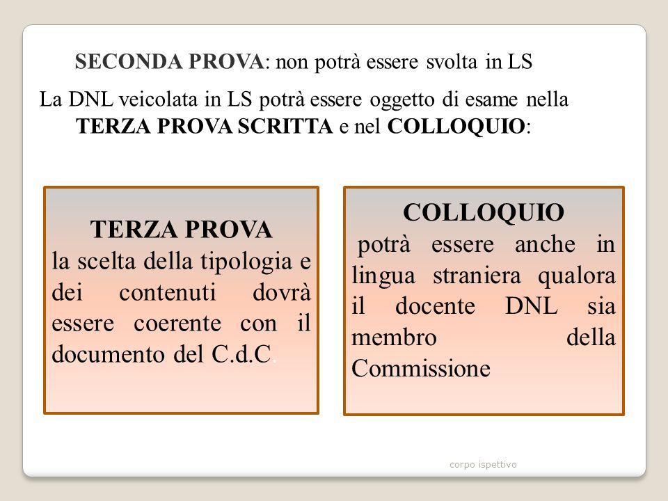 SECONDA PROVA: non potrà essere svolta in LS La DNL veicolata in LS potrà essere oggetto di esame nella TERZA PROVA SCRITTA e nel COLLOQUIO: TERZA PROVA la scelta della tipologia e dei contenuti dovrà essere coerente con il documento del C.d.C.