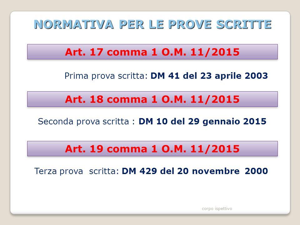 NORMATIVA PER LE PROVE SCRITTE Prima prova scritta: DM 41 del 23 aprile 2003 Art.