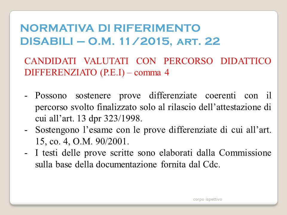 NORMATIVA DI RIFERIMENTO DISABILI – O.M. 11/2015, art.