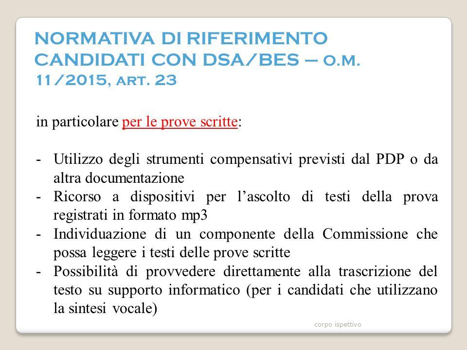 NORMATIVA DI RIFERIMENTO CANDIDATI CON DSA/BES – O.M.