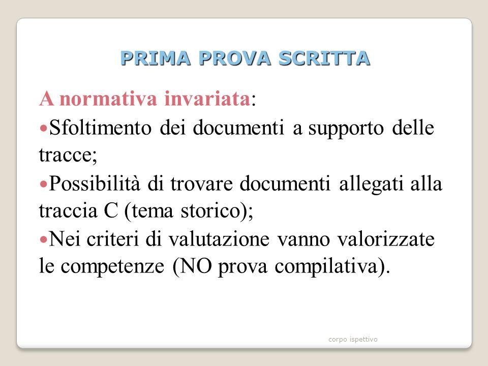 PRIMA PROVA SCRITTA A normativa invariata: Sfoltimento dei documenti a supporto delle tracce; Possibilità di trovare documenti allegati alla traccia C (tema storico); Nei criteri di valutazione vanno valorizzate le competenze (NO prova compilativa).