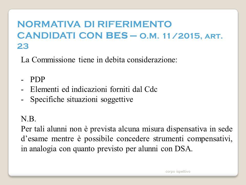 NORMATIVA DI RIFERIMENTO CANDIDATI CON BES – O.M. 11/2015, art.