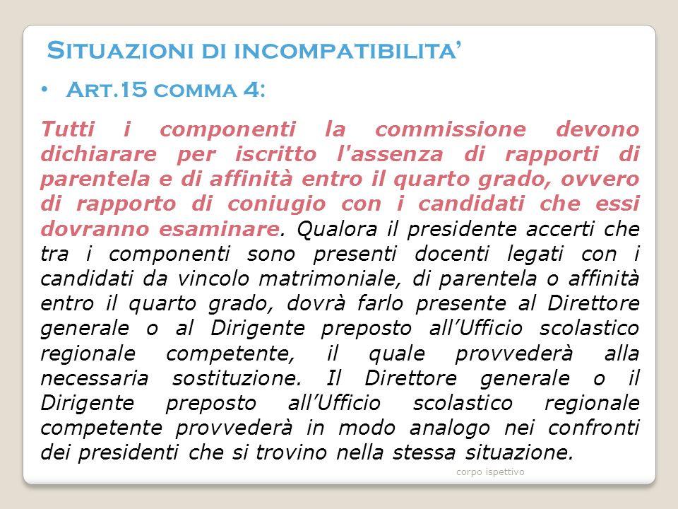 Situazioni di incompatibilita' Art.15 comma 4: Tutti i componenti la commissione devono dichiarare per iscritto l assenza di rapporti di parentela e di affinità entro il quarto grado, ovvero di rapporto di coniugio con i candidati che essi dovranno esaminare.