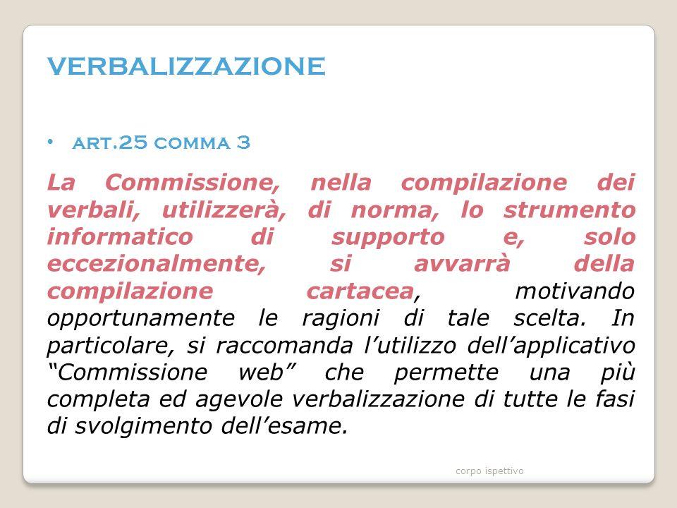 VERBALIZZAZIONE art.25 comma 3 La Commissione, nella compilazione dei verbali, utilizzerà, di norma, lo strumento informatico di supporto e, solo eccezionalmente, si avvarrà della compilazione cartacea, motivando opportunamente le ragioni di tale scelta.