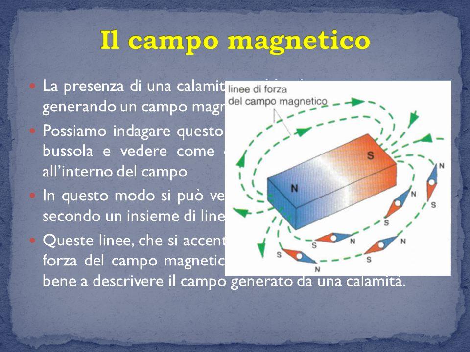La presenza di una calamita modifica lo spazio circostante generando un campo magnetico Possiamo indagare questo campo utilizzando l'ago di una bussol