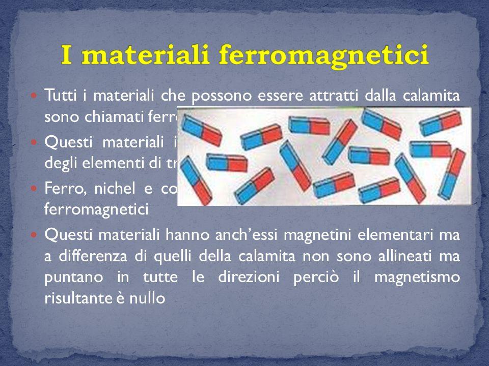 In molti casi i magneti elementari non sono altro che gli atomi Le proprietà magnetiche delle calamite e la posizione dei poli sono date dall orientamento degli atomi del metallo, ciascuno dei quali possiede sue proprietà magnetiche.