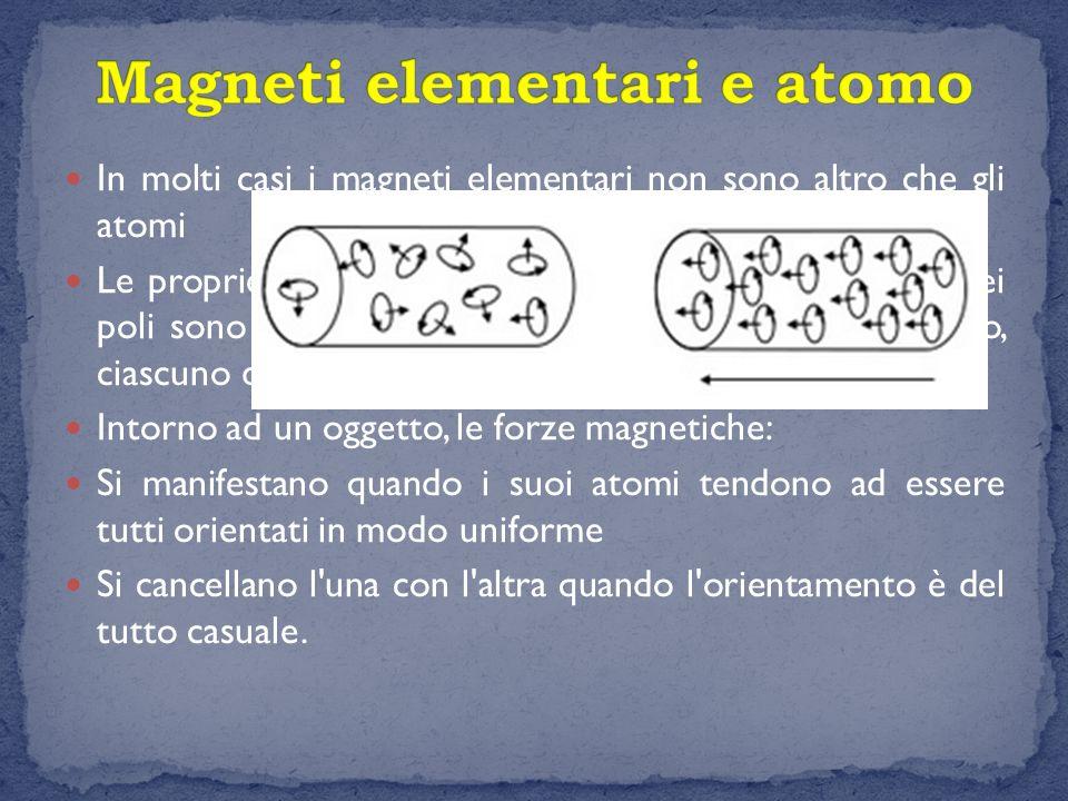 In molti casi i magneti elementari non sono altro che gli atomi Le proprietà magnetiche delle calamite e la posizione dei poli sono date dall'orientam