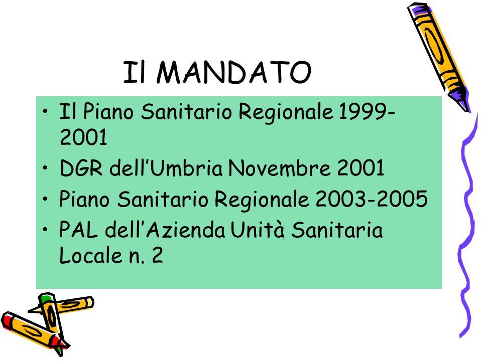 Il MANDATO Il Piano Sanitario Regionale 1999- 2001 DGR dell'Umbria Novembre 2001 Piano Sanitario Regionale 2003-2005 PAL dell'Azienda Unità Sanitaria