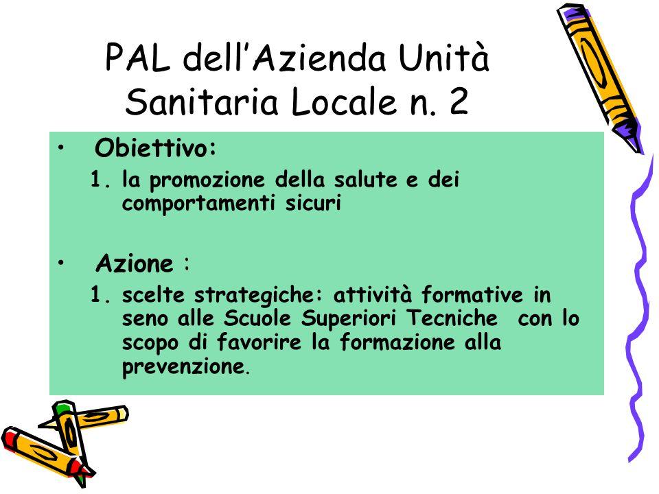 Obiettivo: 1.la promozione della salute e dei comportamenti sicuri Azione : 1.scelte strategiche: attività formative in seno alle Scuole Superiori Tec
