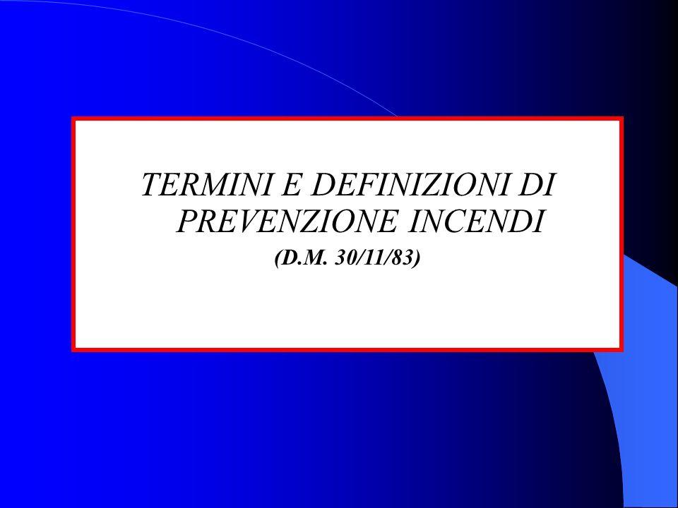 TERMINI E DEFINIZIONI DI PREVENZIONE INCENDI (D.M. 30/11/83)