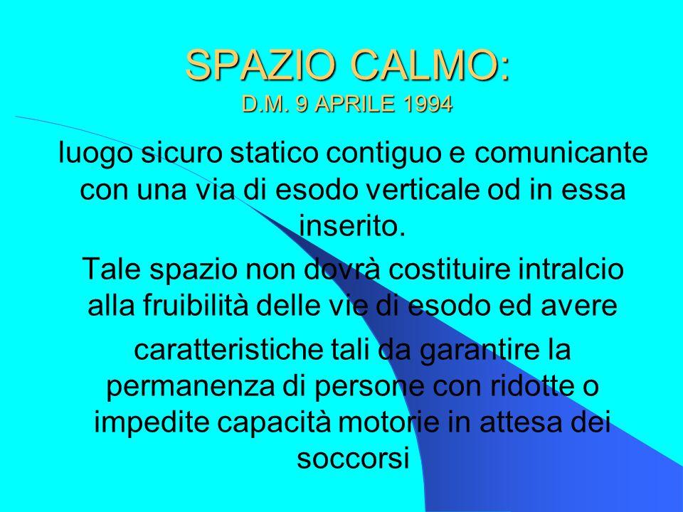 SPAZIO CALMO: D.M. 9 APRILE 1994 luogo sicuro statico contiguo e comunicante con una via di esodo verticale od in essa inserito. Tale spazio non dovrà
