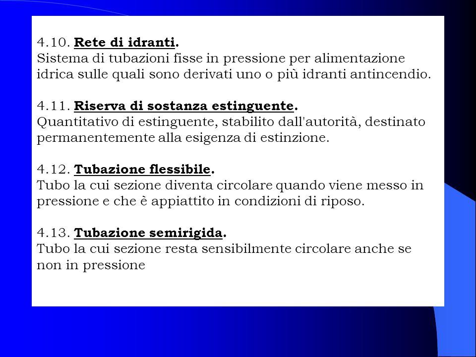 4.10. Rete di idranti. Sistema di tubazioni fisse in pressione per alimentazione idrica sulle quali sono derivati uno o più idranti antincendio. 4.11.