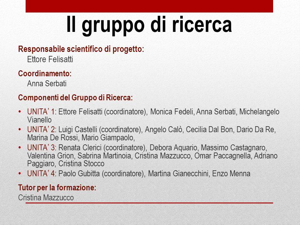 Il gruppo di ricerca Responsabile scientifico di progetto: Ettore Felisatti Coordinamento: Anna Serbati Componenti del Gruppo di Ricerca: UNITA' 1: Et