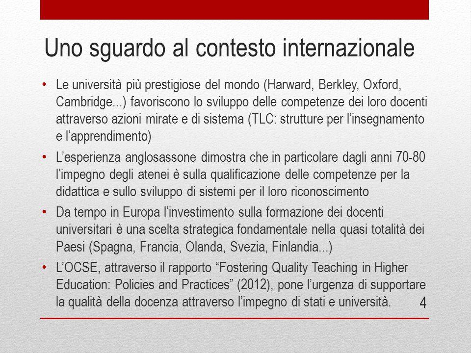 Uno sguardo al contesto internazionale Le università più prestigiose del mondo (Harward, Berkley, Oxford, Cambridge...) favoriscono lo sviluppo delle