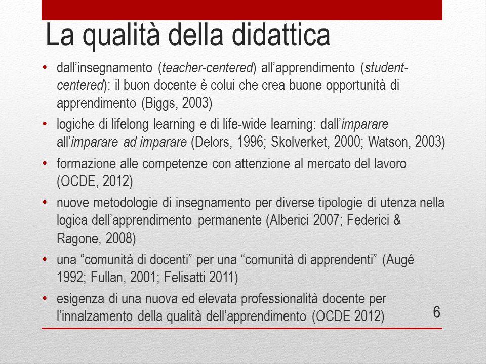 La qualità della didattica dall'insegnamento ( teacher-centered ) all'apprendimento ( student- centered ): il buon docente è colui che crea buone oppo