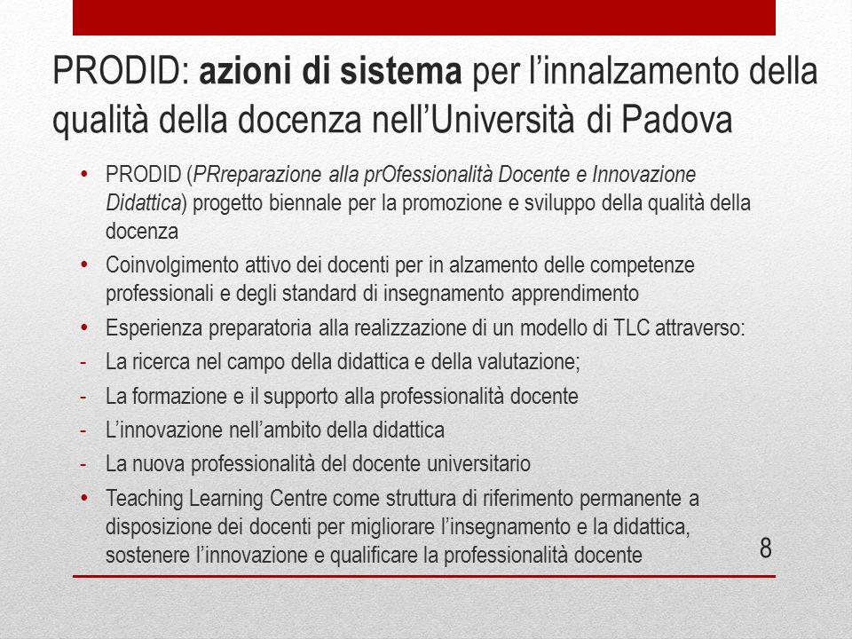 PRODID: azioni di sistema per l'innalzamento della qualità della docenza nell'Università di Padova PRODID ( PRreparazione alla prOfessionalità Docente