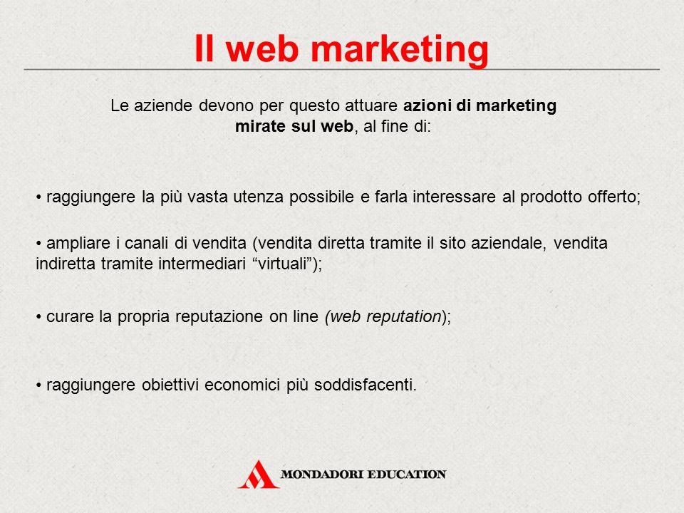 Le aziende devono per questo attuare azioni di marketing mirate sul web, al fine di: raggiungere la più vasta utenza possibile e farla interessare al