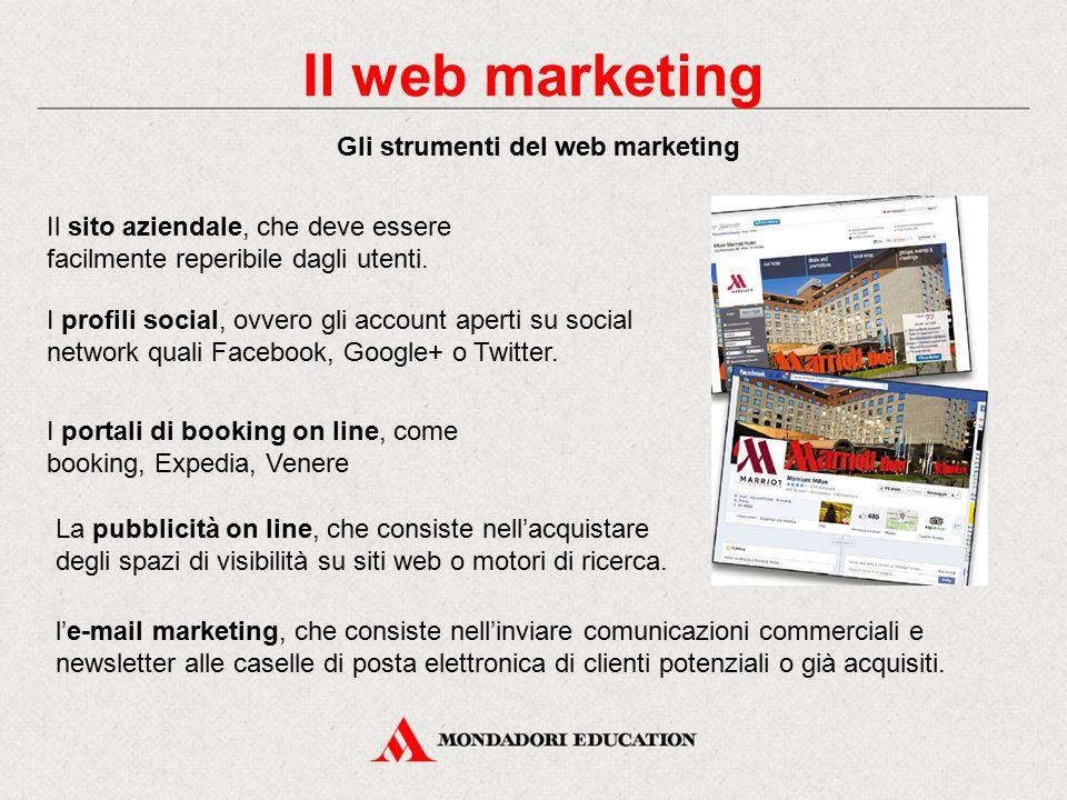Gli strumenti del web marketing Il sito aziendale, che deve essere facilmente reperibile dagli utenti. I profili social, ovvero gli account aperti su