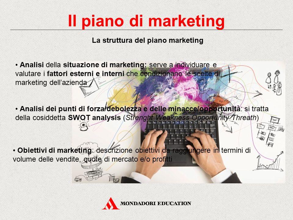 La struttura del piano marketing Analisi della situazione di marketing: serve a individuare e valutare i fattori esterni e interni che condizionano le