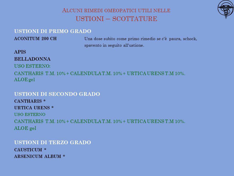 USTIONI DI PRIMO GRADO ACONITUM 200 CH Una dose subito come primo rimedio se c'è paura, schock, spavento in seguito all'ustione.
