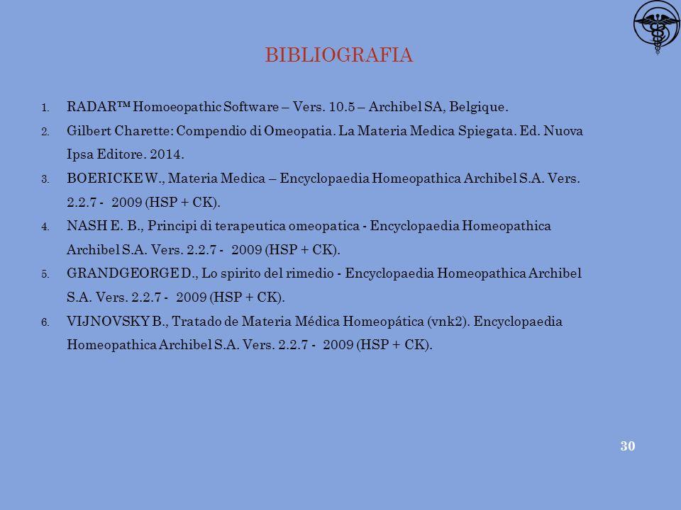 BIBLIOGRAFIA 1.RADAR™ Homoeopathic Software – Vers.