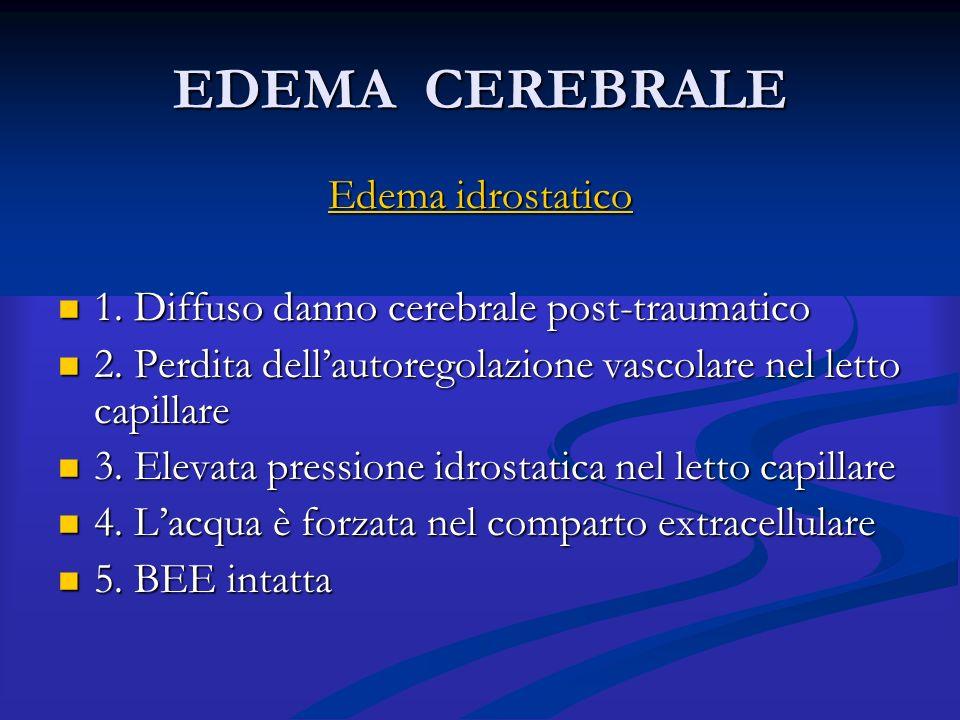 EDEMA CEREBRALE Edema idrostatico 1. Diffuso danno cerebrale post-traumatico 1. Diffuso danno cerebrale post-traumatico 2. Perdita dell'autoregolazion