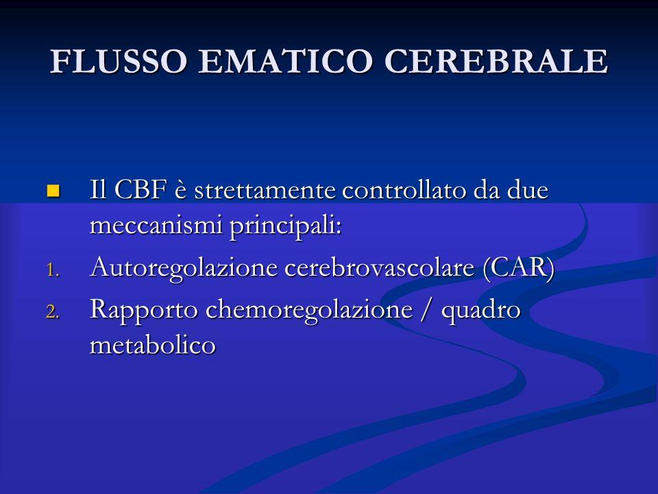 FLUSSO EMATICO CEREBRALE Il CBF è strettamente controllato da due meccanismi principali: Il CBF è strettamente controllato da due meccanismi principal