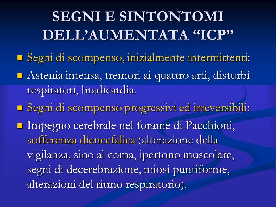 """SEGNI E SINTONTOMI DELL'AUMENTATA """"ICP"""" Segni di scompenso, inizialmente intermittenti: Segni di scompenso, inizialmente intermittenti: Astenia intens"""