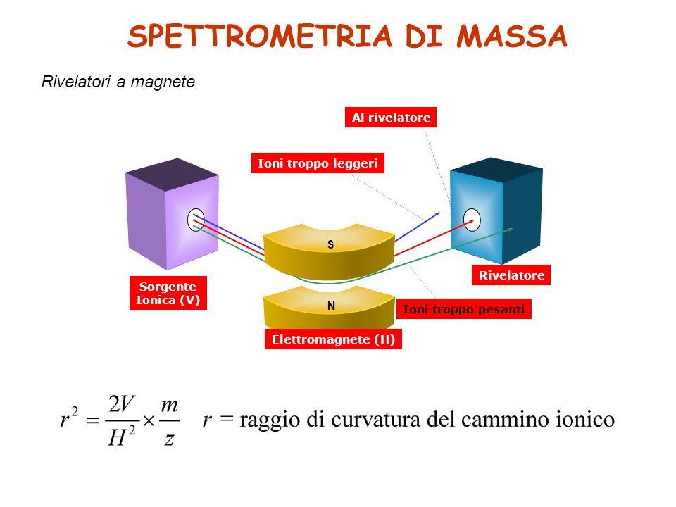 Ioni troppo pesanti Sorgente Ionica (V) Rivelatore Ioni troppo leggeri Al rivelatore S N Elettromagnete (H) SPETTROMETRIA DI MASSA Rivelatori a magnete