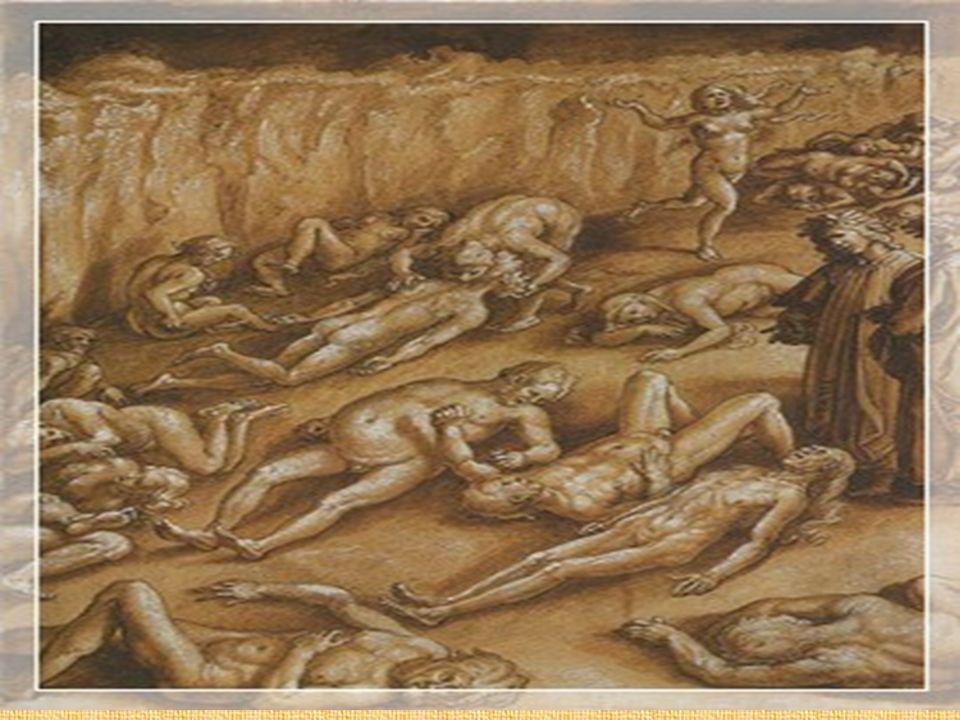 L'una giunse a Capocchio, e in sul nodo del collo l'assannò, sì che, tirando, grattar li fece il ventre al fondo sodo.