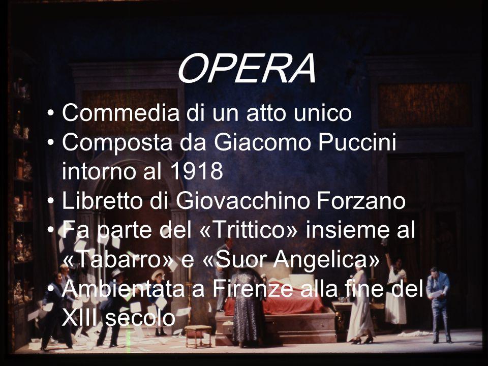 OPERA Commedia di un atto unico Composta da Giacomo Puccini intorno al 1918 Libretto di Giovacchino Forzano Fa parte del «Trittico» insieme al «Tabarr
