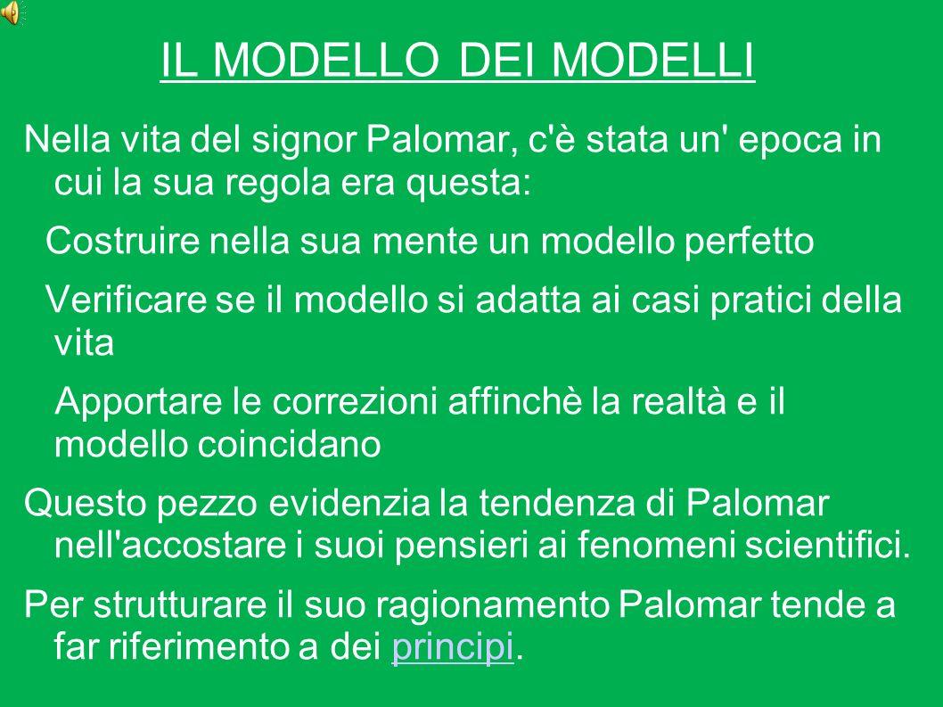 IL MODELLO DEI MODELLI Nella vita del signor Palomar, c'è stata un' epoca in cui la sua regola era questa: Costruire nella sua mente un modello perfet