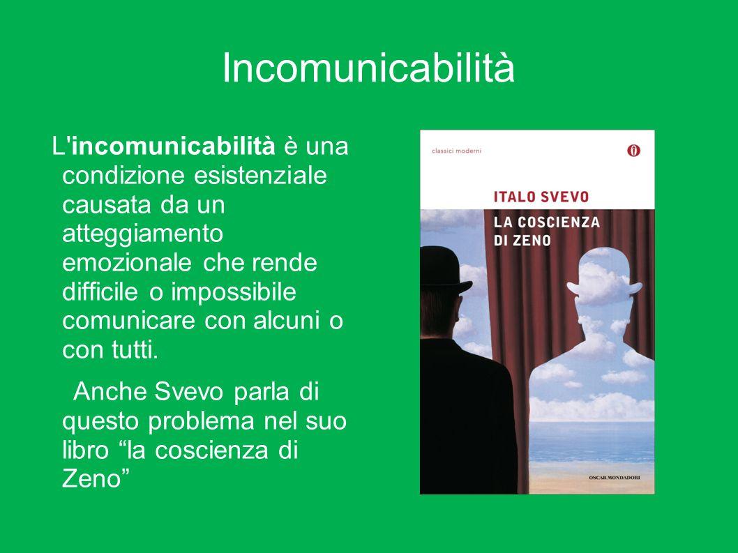 Incomunicabilità L'incomunicabilità è una condizione esistenziale causata da un atteggiamento emozionale che rende difficile o impossibile comunicare