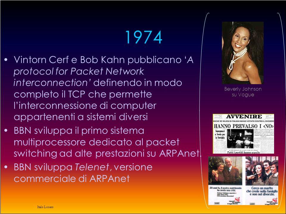 Italo Losero 1980 il TCP/IP viene definito come protocollo militare preferenziale