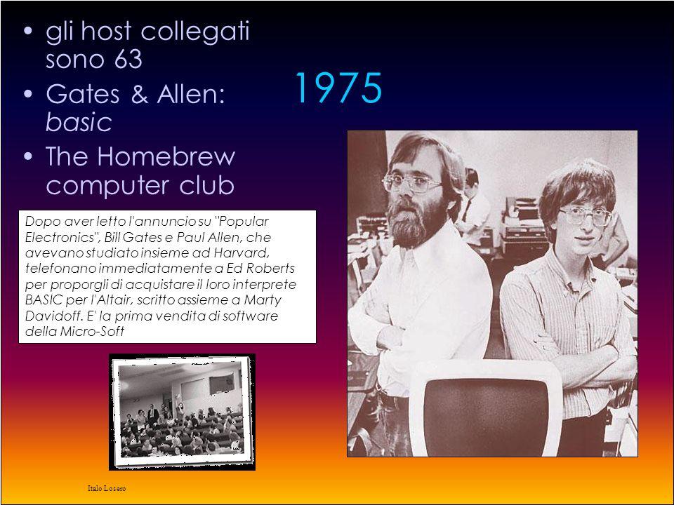 Italo Losero 1974 Vintorn Cerf e Bob Kahn pubblicano 'A protocol for Packet Network interconnection' definendo in modo completo il TCP che permette l'interconnessione di computer appartenenti a sistemi diversi BBN sviluppa il primo sistema multiprocessore dedicato al packet switching ad alte prestazioni su ARPAnet.