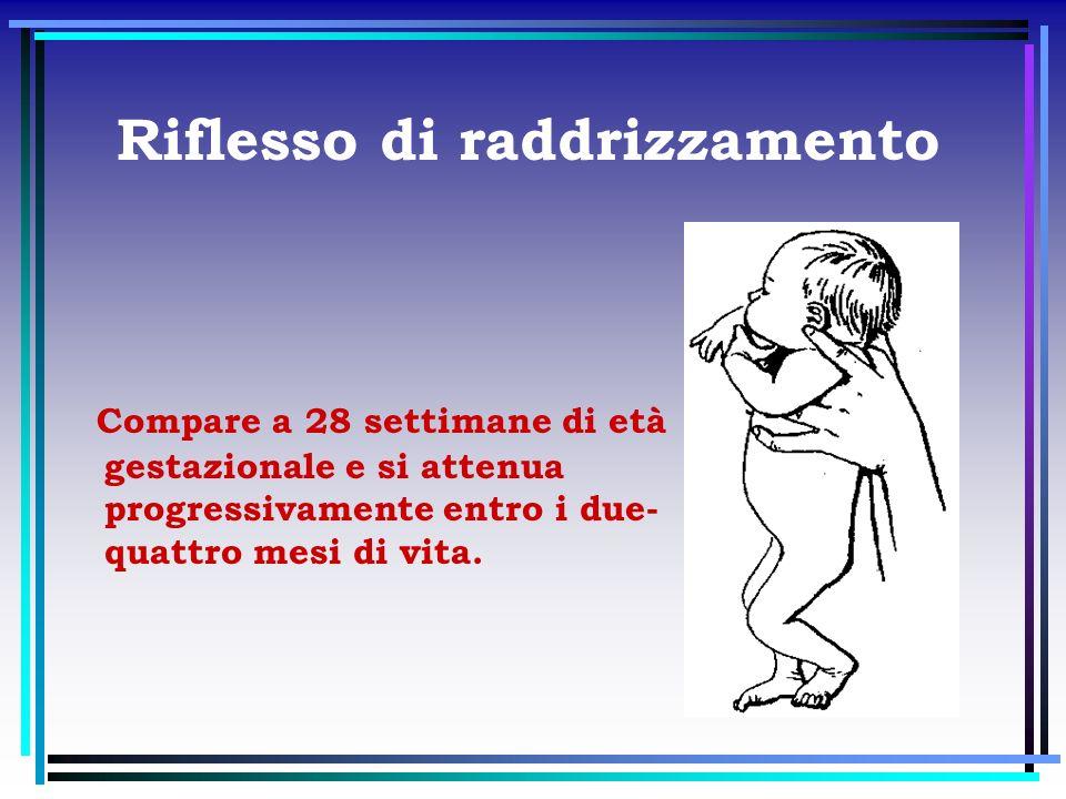Riflesso di raddrizzamento Compare a 28 settimane di età gestazionale e si attenua progressivamente entro i due- quattro mesi di vita.