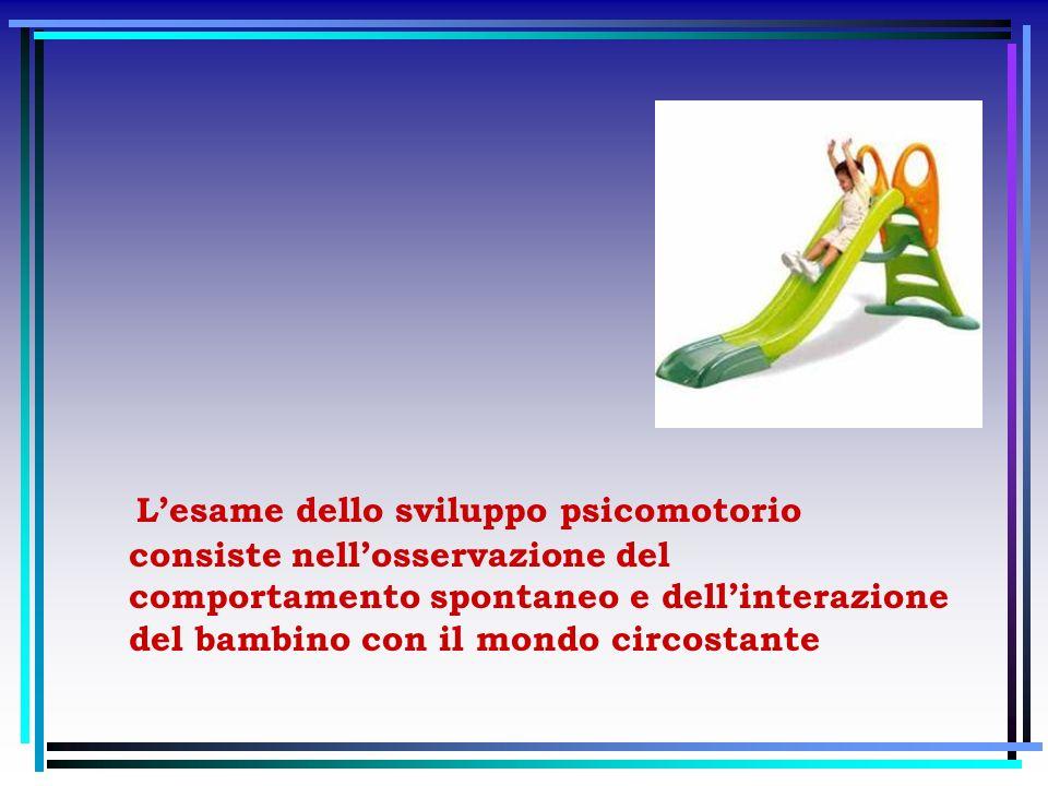 L'esame dello sviluppo psicomotorio consiste nell'osservazione del comportamento spontaneo e dell'interazione del bambino con il mondo circostante