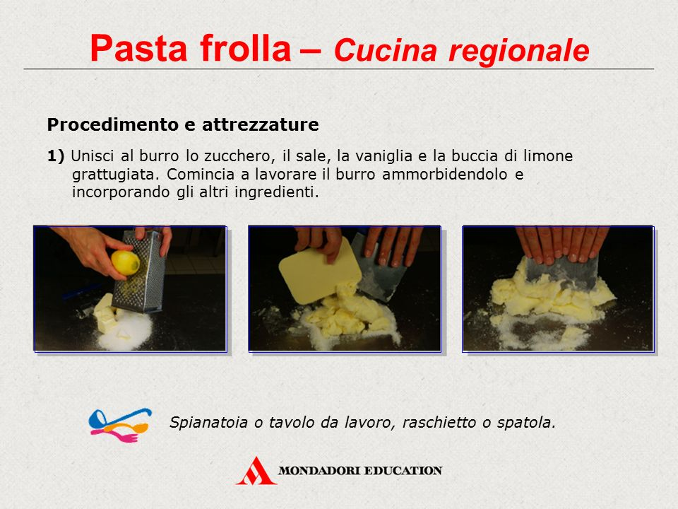 Procedimento e attrezzature 1) Unisci al burro lo zucchero, il sale, la vaniglia e la buccia di limone grattugiata. Comincia a lavorare il burro ammor